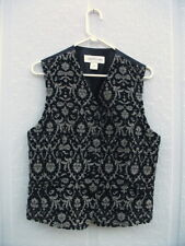 NWT Jones New York Woman's Vest size 12 Black & Tan Velveteen Brocade Vest