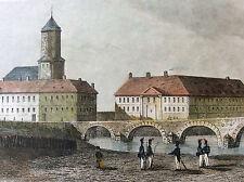 Fort Moselle à Metz estampe colorisée première moitié XIXe