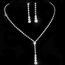 ELEGANT SILVER PLATED CLEAR CRYSTAL KPW4 TENNIS STYLE NECKLACE  EARRINGS SET