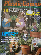 April 1992 Plastic Canvas Back Issue Magazine Baby Shower Basket Tissue Cover