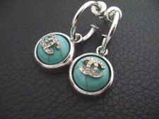 Auth Chanel Vintage Turquoise w/ Silver CC Round Dangling Pierce Earring(01A)