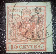 Antichi Stati lombardo veneto 15 cent primo tipo doppia stampa cornice destra