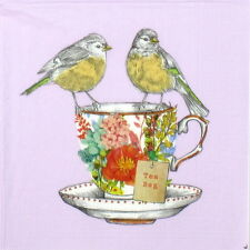 4x Single Table Party Paper Napkins for Decoupage Decopatch Tea for Two Birds