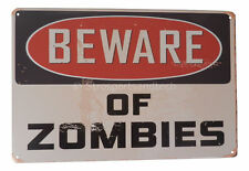 Warning Beware of Zombies Funny Tin Sign Bar Pub Garage Home Art Decor Poster