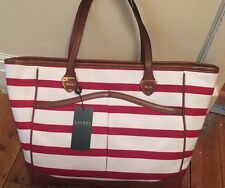 New With Tags Authentic Lauren Ralph Lauren Red and White Tote Beach Bag