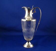 ANTIQUE/VINTAGE CLARET JUG WINE DECANTER FLORAL ETCHED CUT GLASS & SILVER PLATED