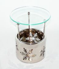 Snowflake Cutout Metal Glass Oil Warmer Bath Body Works NEW tea light candle