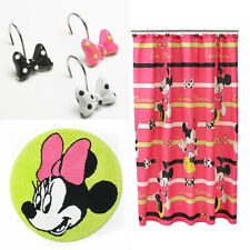 Disney Minnie Mouse Bath Set - Mat Rug + Fabric Shower Curtain + 12 Hook Mickey