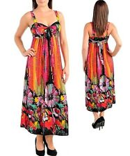 New Fuschia Tropical Halter Empire Waist Long Cocktail Summer Dress XL 2X 3X