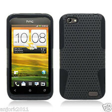 HTC ONE V MESH HYBRID HARD CASE SKIN COVER ACCESSORY GRAY BLACK