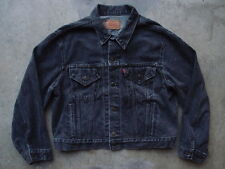 Vintage Levis Denim Jean Jacket Size 46 Made in USA Black Trucker