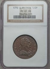 ENGLAND GEORGE III 1770  HALF-PENNY COPPER COIN, UNCIRCULATED CERTIFIED NGC MS61