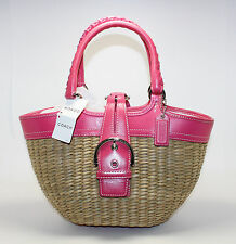 Coach Straw Pink Leather Missing Butterfly Accent 6270 Tota Bucket Handbag Purse