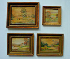 Group of Four 1920's Miniature framed Oil Paintings by Elyse
