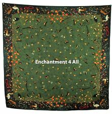 "Dk Green Luxurious Large 35""x35"" 100% Silk Twill Scarf Wrap Handrolled w/ Birds"