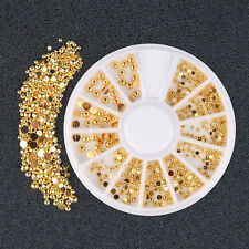 DIY Mixed Gold Color Decals 3D Rhinestone DIY Nail Art Stickers Decor Beauty