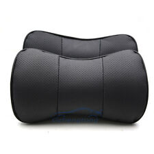 2x Car Genuine Leather Neck Pillow Bamboo Charcoal Headrest Seat Cushion Covers