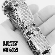 "MEN`S STAINLESS STEEL ICED OUT LAB DIAMOND SILVER BRACELET/8.8""/107g/IB50"