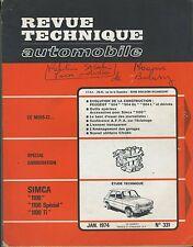(35A) REVUE TECHNIQUE AUTOMOBILE SIMCA 1100 / PEUGEOT 504
