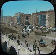 HAND COLOURED Glass Magic Lantern Slide SACKVILLE ST DUBLIN C1890 IRELAND PHOTO