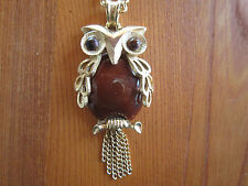 Vintage OWL NECKLACE Chocolate Brown & Gold tone - Mid Century Costume Jewelry