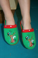 Paul Frank Small Size 5/6 $35 Forest Green Julius Tree Embroidered Slippers NEW