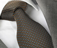 NEW ITALIAN DESIGNER BLACK / BRONZE DOTTED SILK TIE