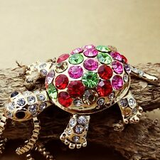 Gold Plated Fashion Color Crystal Turtle Pendant necklace Sweater chain  KK151