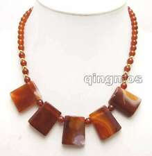 "Genuine 20*25mm Red Trapezoid pendant & round Natural agate 17"" necklace-n5976"