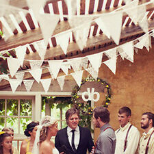 2.5m Vintage White Lace Bunting Banner Pennant triangle Flag Wedding Party Decor