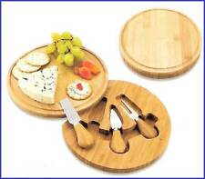 Bamboo Cheese Board Round with Swivel Drawer and Stainless Steel Tools NIB