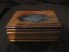 Small Wooden Jewelry Box, Etched Glass in Lid