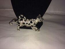 VTG. CLEAR PAVE RHINESTONE & BLACK ENAMEL 3-D LEOPARD BIG CAT BROOCH~