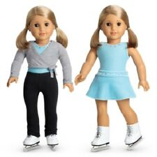American Girl 2-IN-1 ICE SKATING SET CHARM retired skates skirt pants NO DOLL