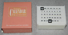 NIP Perpetual Calendar Organizer White Plastic Desk Home Office Pencil Holder
