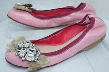Miu Miu Women's Shoes Pink Flats Size 36 Prada Vernice 12 Ballet Leather NIB