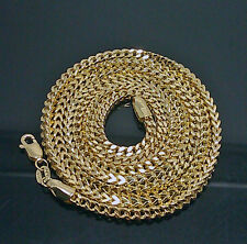 Men's 10K Yellow Gold Franco Chain 4mm, 30Inches Long A29B5 Italian, Cuben, Rope