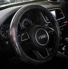Bling Bling Shiny Leather Car Steering Wheel Cover- black