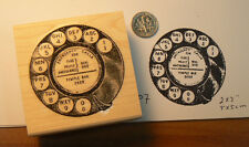 "P7 Vintage phone dial 2x2"" WM rubber stamp"