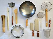 WOK SET + Asian Cooking STARTER KIT Turner CLEAVER Dipper WOK RING Skimmer Brush
