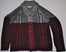 BRAVE SOUL Thick Cable Knit Nordic Sweater Men's ~ Wine/Grey - Size: Large