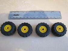 Lego 4 x YELLOW Spoked Balloon Wheels 37 x 18R with Rubber Tyres