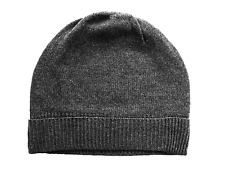 Charcoal Gray grey 100% Pure cashmere Hat  Ski beanie Winter Cap skull Unisex
