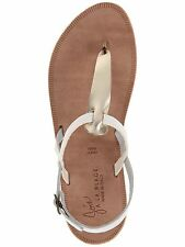 JOIE A LA PLAGE $195 WHITE GOLD LEATHER TOPANGA THONG SANDALS  38 8