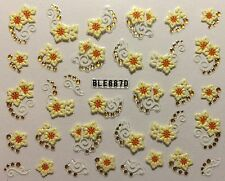 Nail Art 3D Decal Stickers Pretty Flower with Gold Dot Embellishments BLE687D