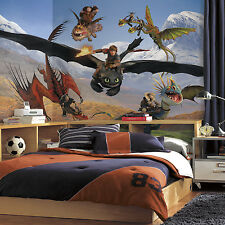 New XL HOW TO TRAIN YOUR DRAGON PREPASTED WALLPAPER MURAL Boys Room Wall Decor