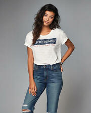 Abercrombie & Fitch T-Shirt Top Womens Americana Graphic Tee Top S Off White NWT