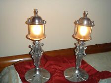 PAIR FRENCH ART DECO MULLER FRERES NICKEL NIGHT STAND LAMPS