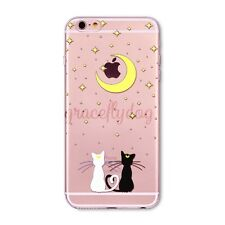 Soft TPU Crystal Clear Cut Cat Printed Case Cover For iPhone 6S Plus 4 SE 5 5C
