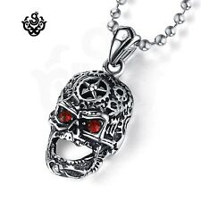 Silver pendant red swarovski crystal stainless steel skull necklace